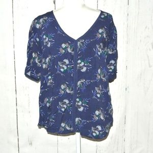 Simply Emma Navy blue Plus 1X Floral Blouse